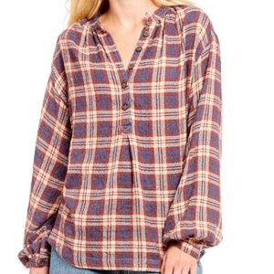 Free People Northern Bound Henley Plaid Blouse